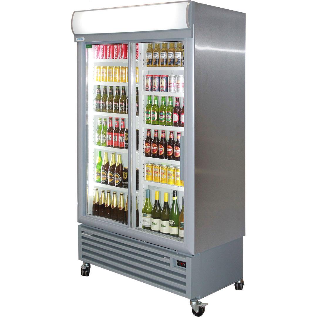 Stainless Steel Double Door Sliding Beverage Cooler